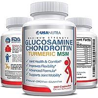 Glucosamine Chondroitin Turmeric MSM Boswellia 2100 mg Triple Strength 180 Capsules...