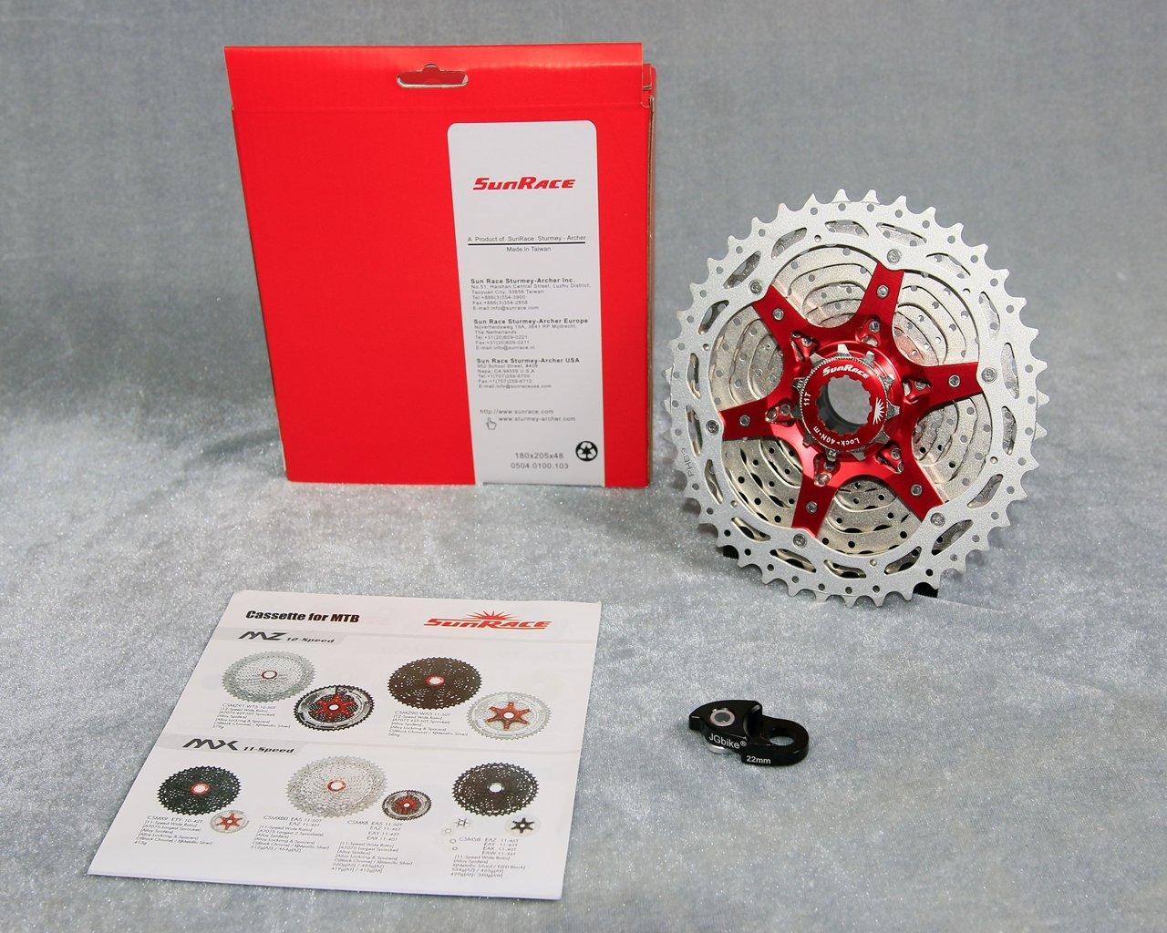 JGbike Sunrace 10 Speed Cassette 11-40T CSMX3 Silver Wide Ratio MTB Cassette for Mountain Bike Including Extender