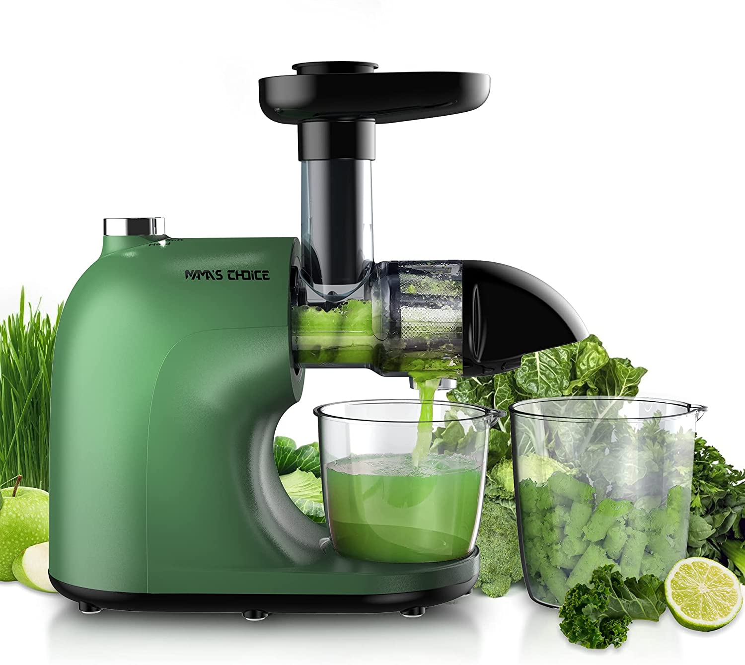 Juicer Machines, MAMA'S CHOICE Slow Juicer Masticating Juicer Extractor Easy to Clean, Cold Press Juicer with Hard, Soft, Reverse Modes, Quiet Motor, Brush, Recipes, Higher Juicer Yield, Drier Pulp