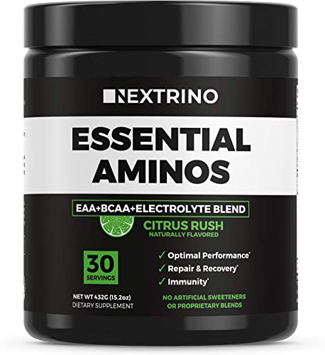 Nextrino Essential Aminos EAA Supplement – Transparent Ingredients, Complete EAA BCAA Essential Amino Acid Powder Drink with Electrolytes Citrus Rush