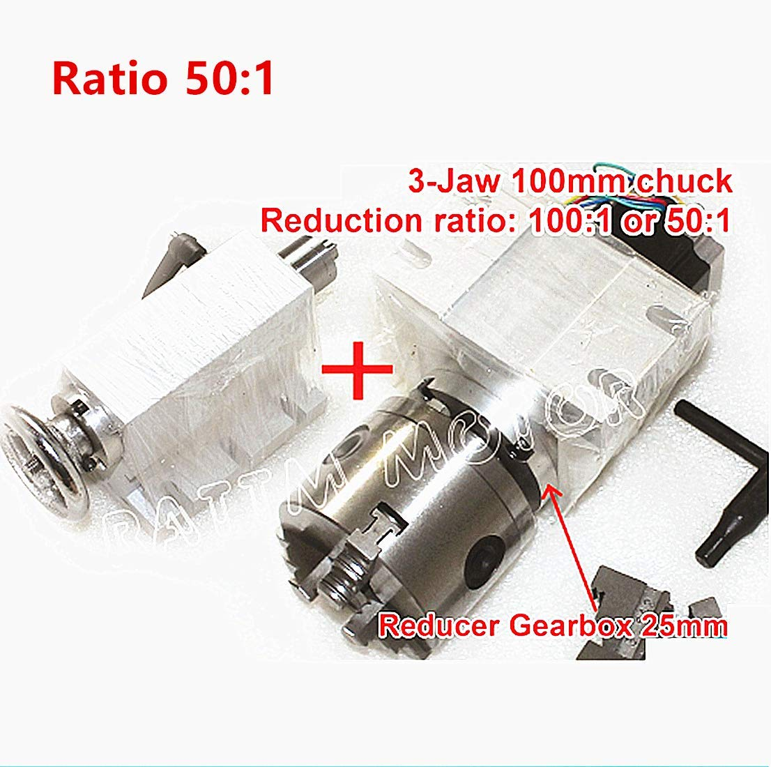 K11-100mm Rotary A Axis Rotational Fourth 4th Axis 3 Jaw Chuck Gapless harmonic reducer Gearbox dividing head Ratio 50:1 with 65mm Tailstock for CNC Router Engraving Milling Machine Changzhou Rattm Motor Co Ltd