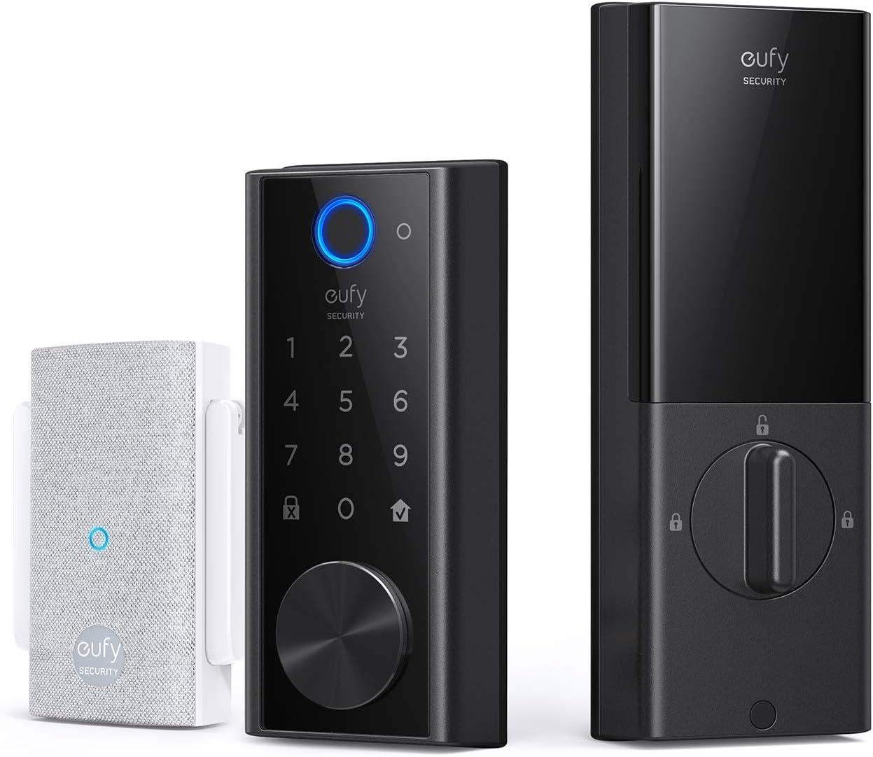 eufy Security Smart Lock Touch, Remotely Control with Wi-Fi Bridge, Fingerprint Keyless Entry Door Lock, Bluetooth Electronic Deadbolt, Touchscreen Keypad, BHMA Certified, IP65 Weatherproof
