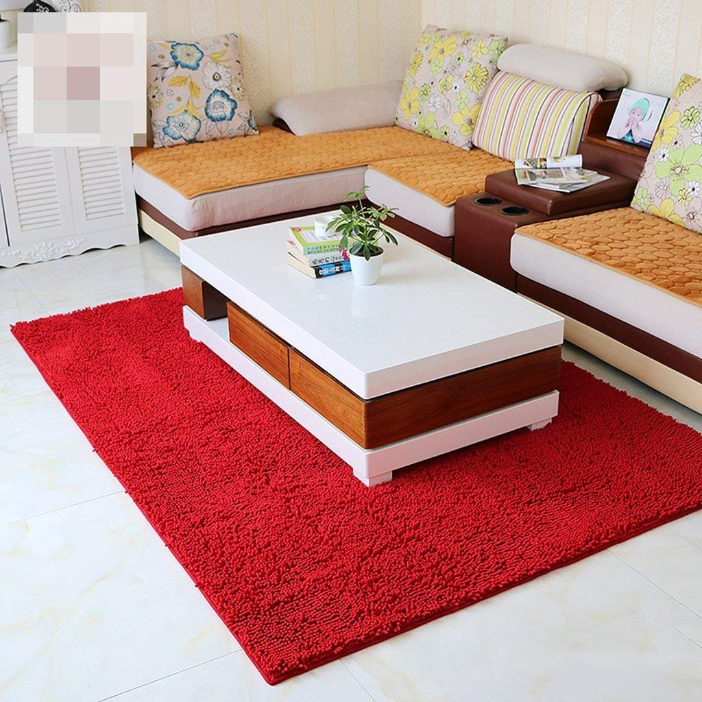 JU Encrypted Solid Color Mat Custom Chenille Living Room Bedroom Non-Slip Mats Coffee Table Mat Mattress Blanket