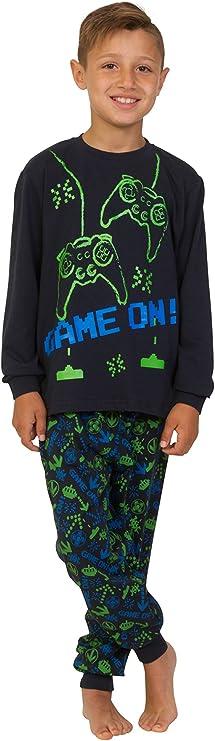 Pijama largo para niños de 7 a 15 años, color verde y azul marino (15 a 16 años)