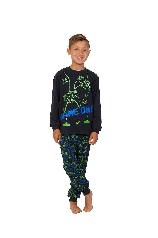 Pijama largo para niños con mensaje: «Game On», invasor del espacio, talla de 7 a 14 años, color verde y azul: Amazon.es: Ropa y accesorios