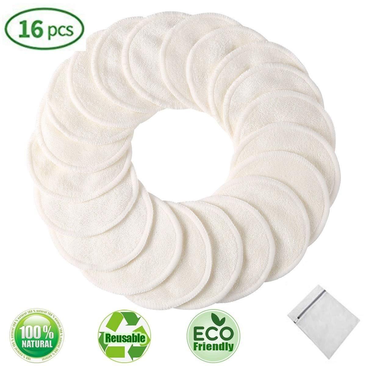 LATERN 16 piezas Desmaquillantes Reutilizables de Bamb/ú con bolsa de lavado Discos Desmaquillantes Lavables almohadillas desmaquillantes suaves para limpieza facial
