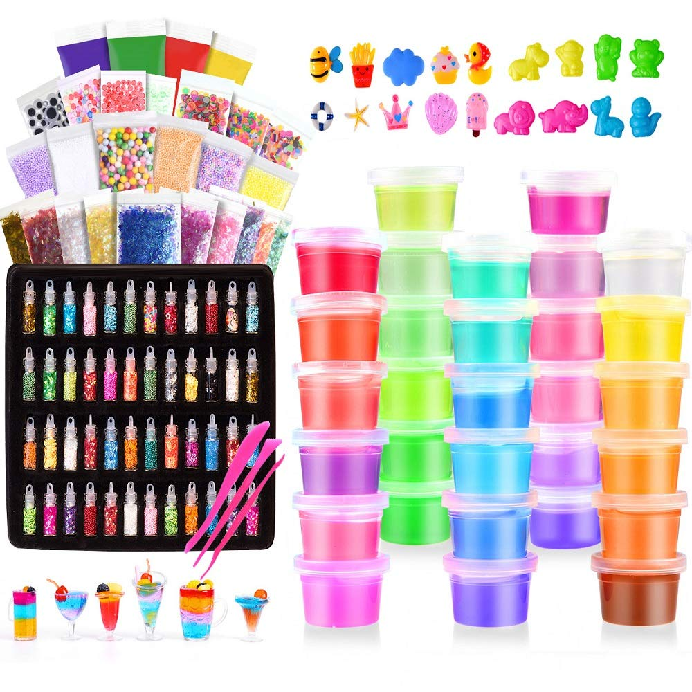 Slime Kit, 135 Pack Slime Making Kit 30 Crystal Slime, Glitter Jars, Charms, Sugar Paper, Foam Beads, Fishbowl Beads, Toy Cups, Slices, Air Dry Clay and Tools for Kids Girls by WINLIP by WINLIP