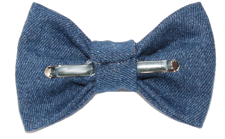 Made in USA Boys Blue Denim Clip On Cotton Bow Tie Bowtie