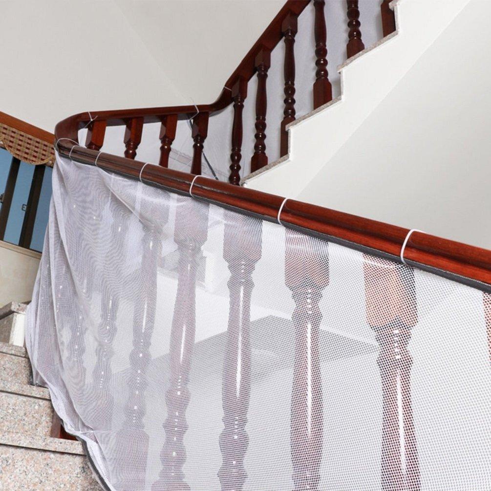 3M Red de seguridad para protecci/ón infantil Malla de seguridad ajustable para balcones de escaleras o patios blanco
