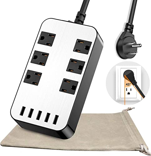 Power Strip – 6-Outlet Surge Protector with 5 USB Ports Fast Charging 4.8A UL Listed, 6Ft Long Extension Cord Flat Plug Wall Mountable, 1700 Joules for iPhone iPad Home Dorm Office Laptop Computer