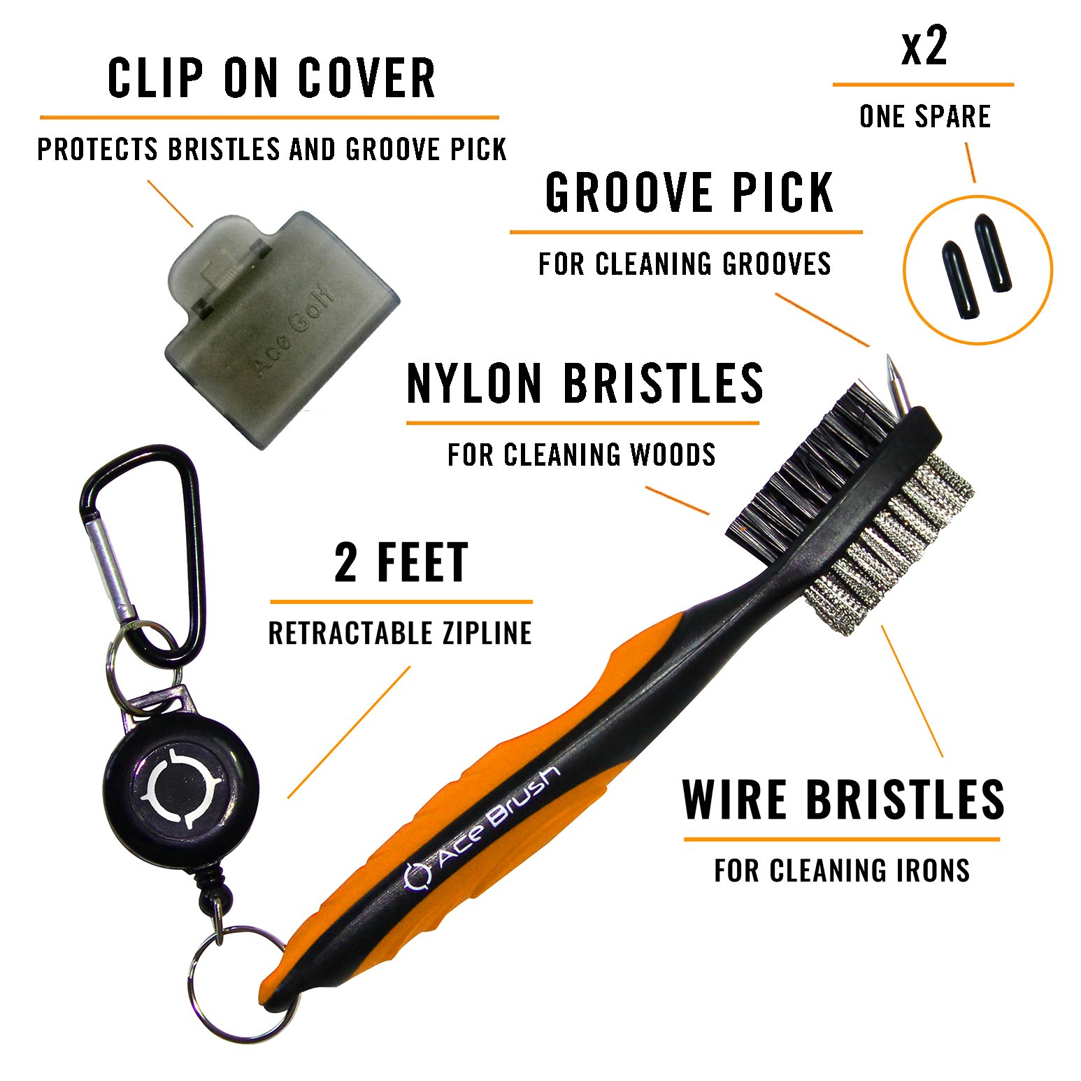Golf Brush and Club Groove Cleaner (Orange) by Ace Golf (Image #2)