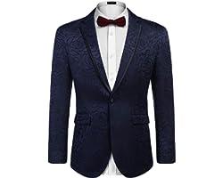 COOFANDY Men's Floral Suit Jacket Embroidered Wedding Blazer Party Dinner Tuxedo
