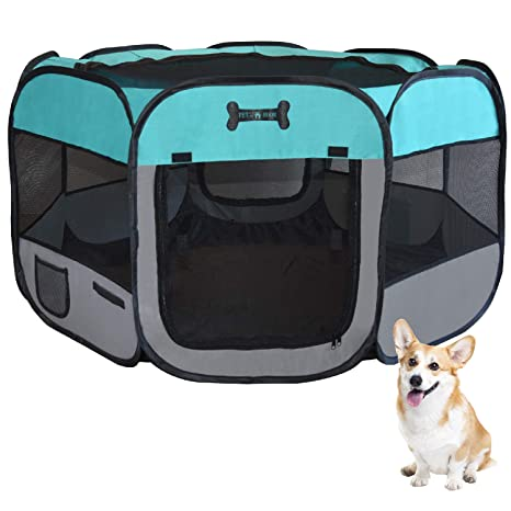 Mcdear Plegable Parque Mascota de Juego Fabric Pet Pen para Perros Gatos Conejos Animales pequeños Verde