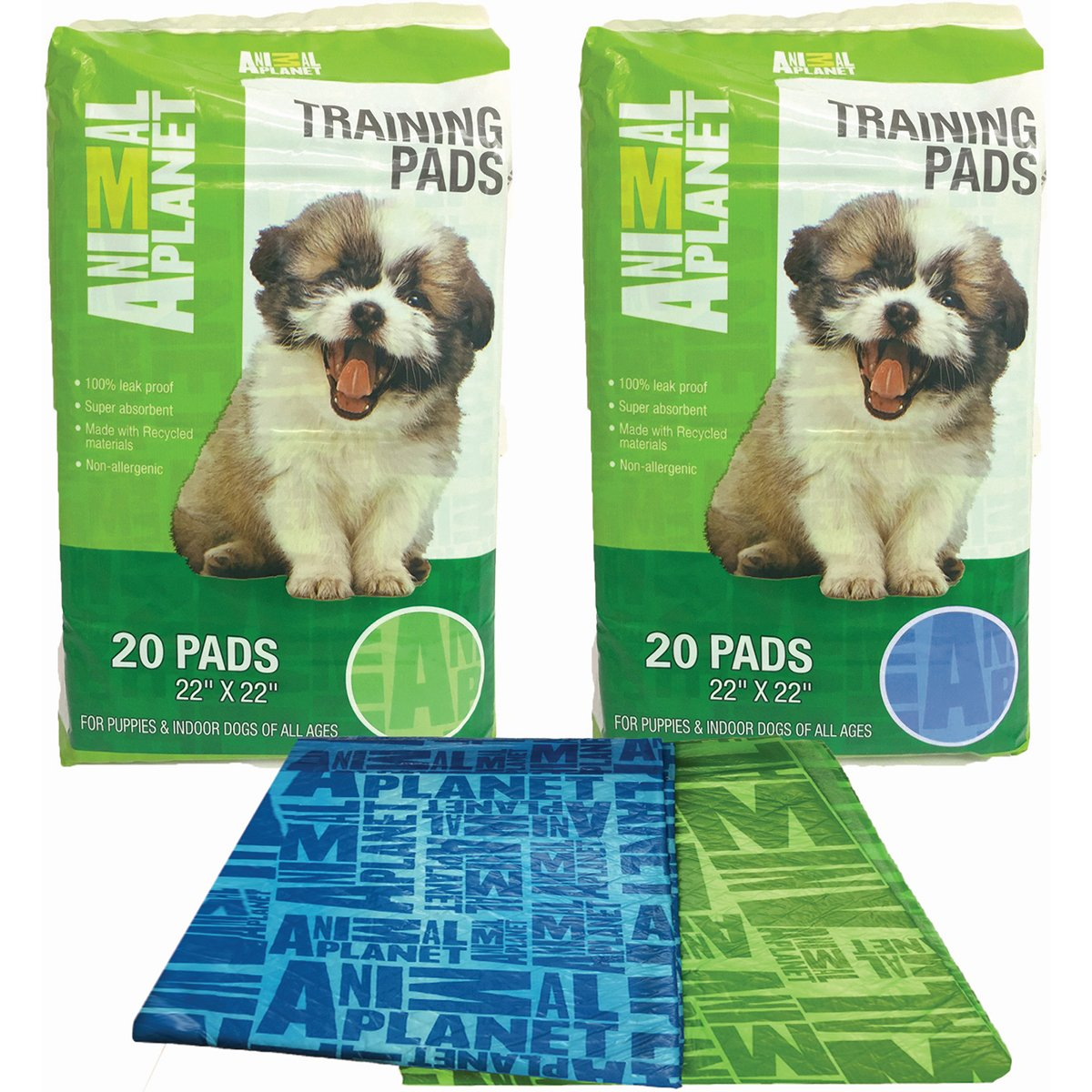 Animal Planet Pet Training Pads 20/Pkg-Assorted Green Or Blue