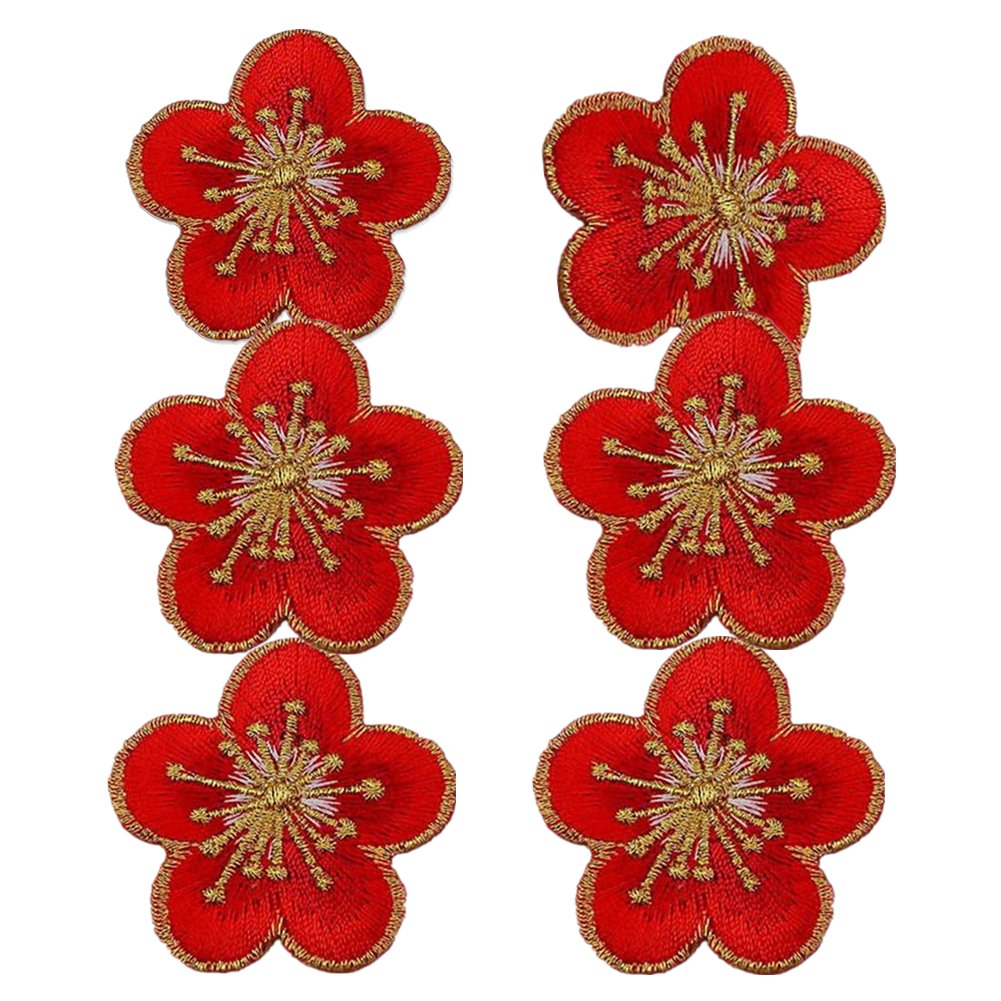 (Pack of 6)Plum Flowers with Gold Trimming Embroidered Appliques Sew Iron on Patches-Multi Zhiheng