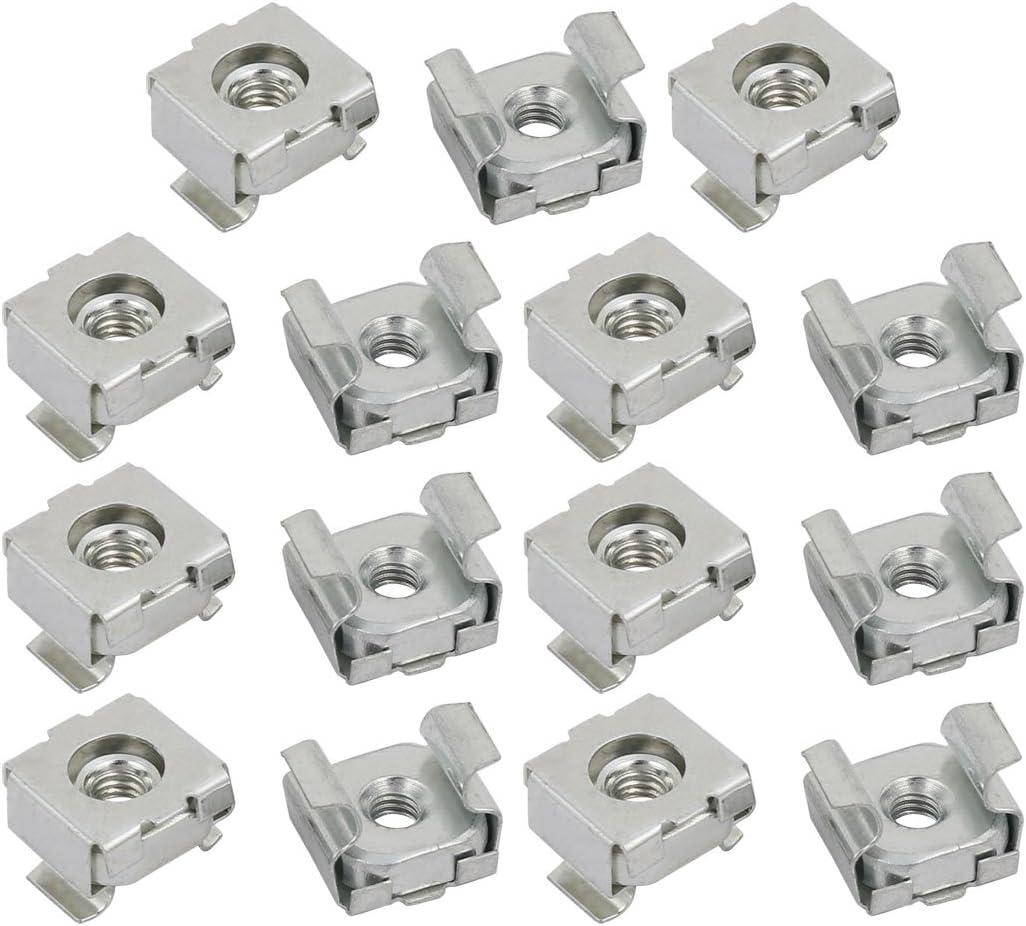 Sourcingmap/® 15pcs M4 Carbon Steel Zinc Plated Cage Nut Silver Tone for Server Shelf Cabinet