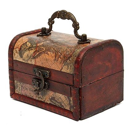 0611d829077dd Amazon.com: Jeteven Vintage Wooden Jewelry Box Small Storage ...