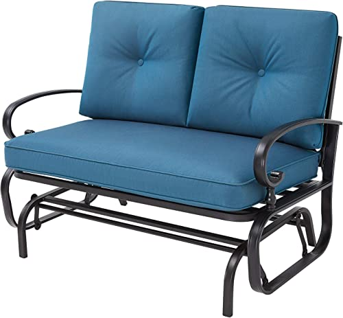 Oakmont Outdoor Loveseat Patio Swing Rocking Glider 2 Seats Metal Furniture Set Peacock Blue