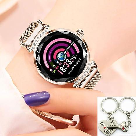 Fitness Trackers Smart Watch Elegant Women Heart Rate Monitors Waterproof Sports Pedometers Bracelet Blood Pressure Wristband Lady Luxury 3D Glass ...