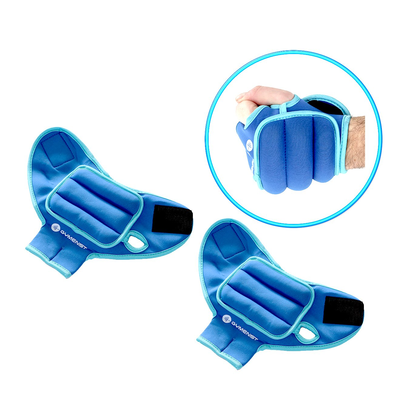 Gymenist Pair of Glove Wrist Weights With Holes For Finger And Thumb (1 LB) by GYMENIST