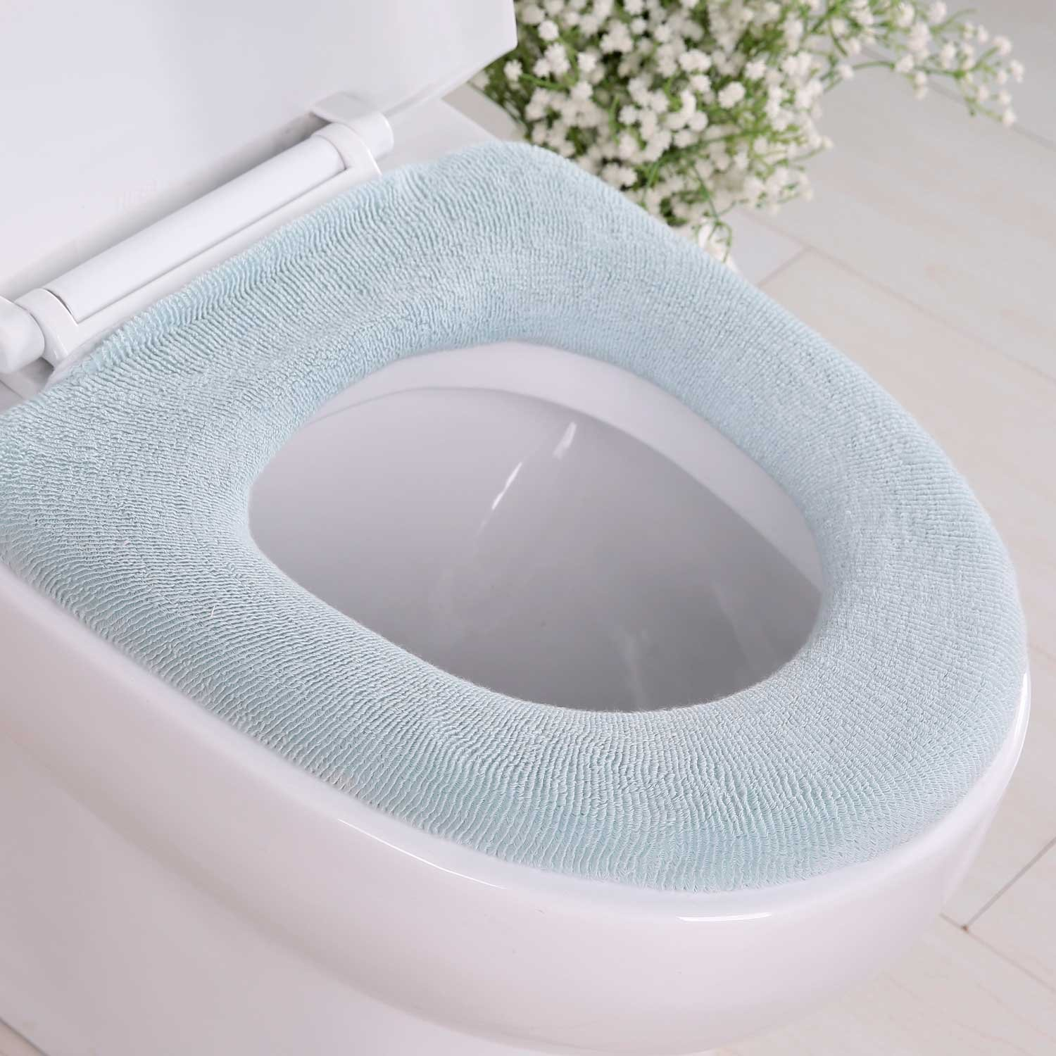 BLACK TERRY CLOTH ELONGATED TOILET SEAT LID COVER