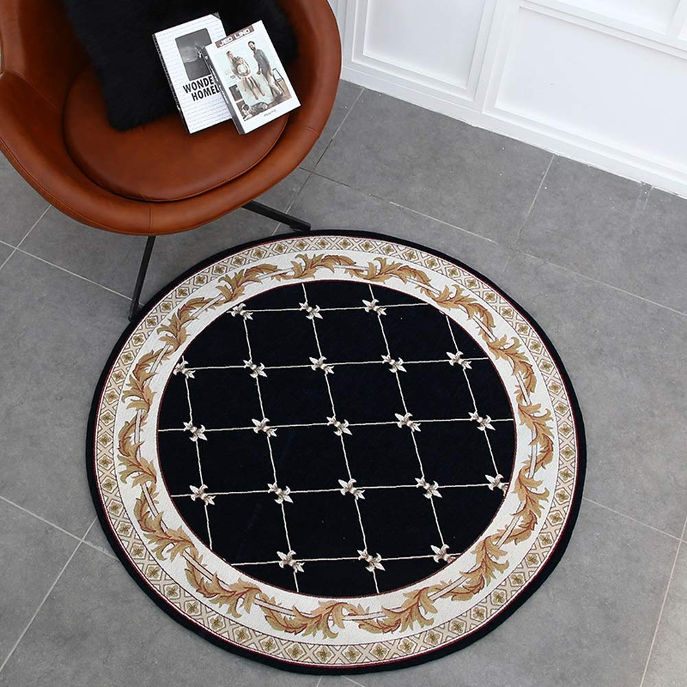 ZCXBB Jane European Home Living Room Round Carpet Bedroom Computer Chair Hanging Basket Carpet Study Bedside Round Blanket Can Be Machine Washed (Color : Black, Size : XXXL)