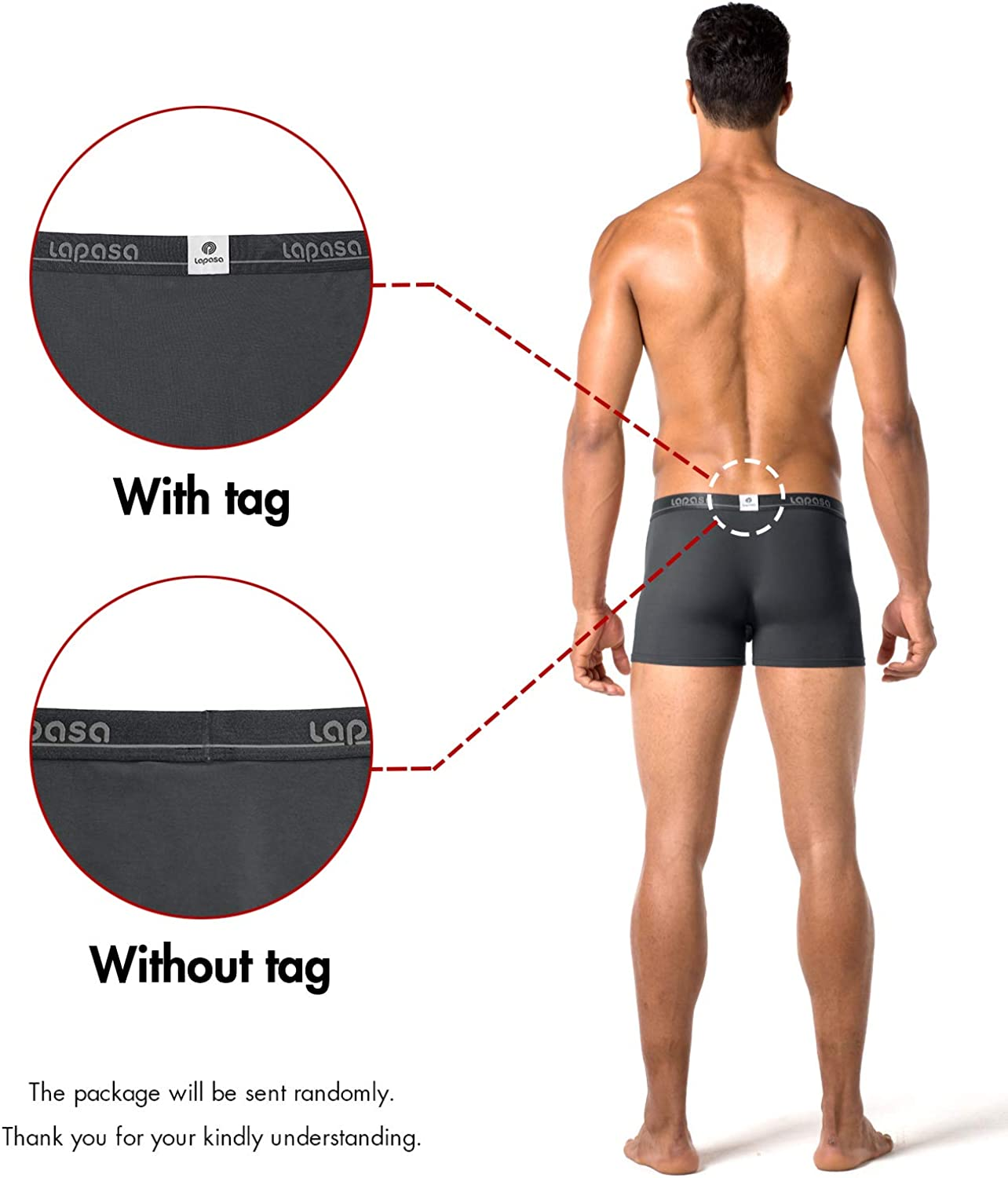 LAPASA Mens 4 Pack Boxers Briefs Micro Modal Boxers Underwear /& 3 Pack Mens Fitness Running Underwear Boxer Shorts Nylon Polyester Mixed Mens Trunks M02 M14