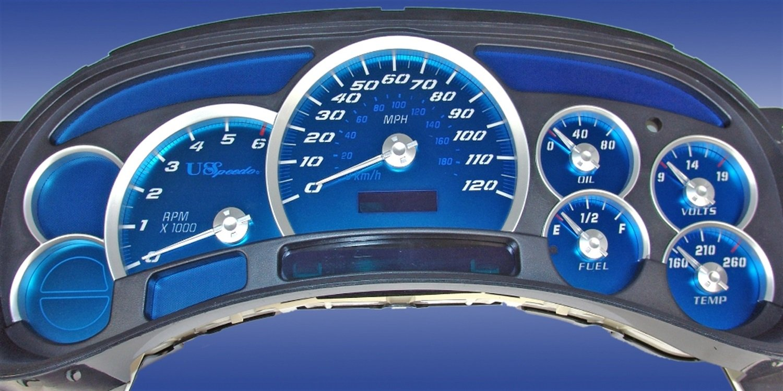US Speedo AQ GM 01 - Aqua Edition White Numbers - 120 MPH No Trans - for: GM Silverado, Sierra, Yukon, Tahoe