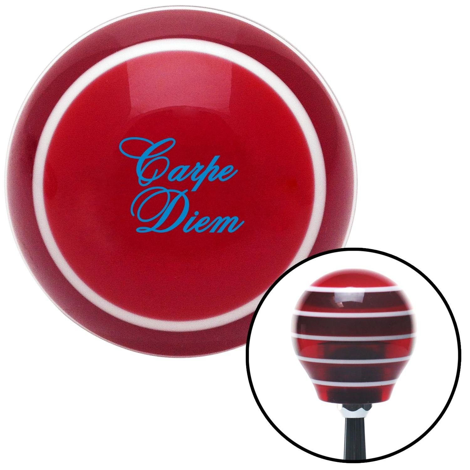 American Shifter 273877 Shift Knob Blue Carpe Diem Red Stripe with M16 x 1.5 Insert