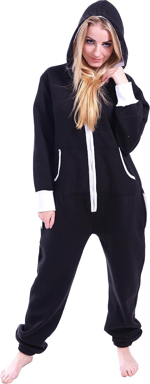 Newfacelook Women Ladies Plain Onesie Hoody All In One Zip One Piece Hoodie Jumpsuit