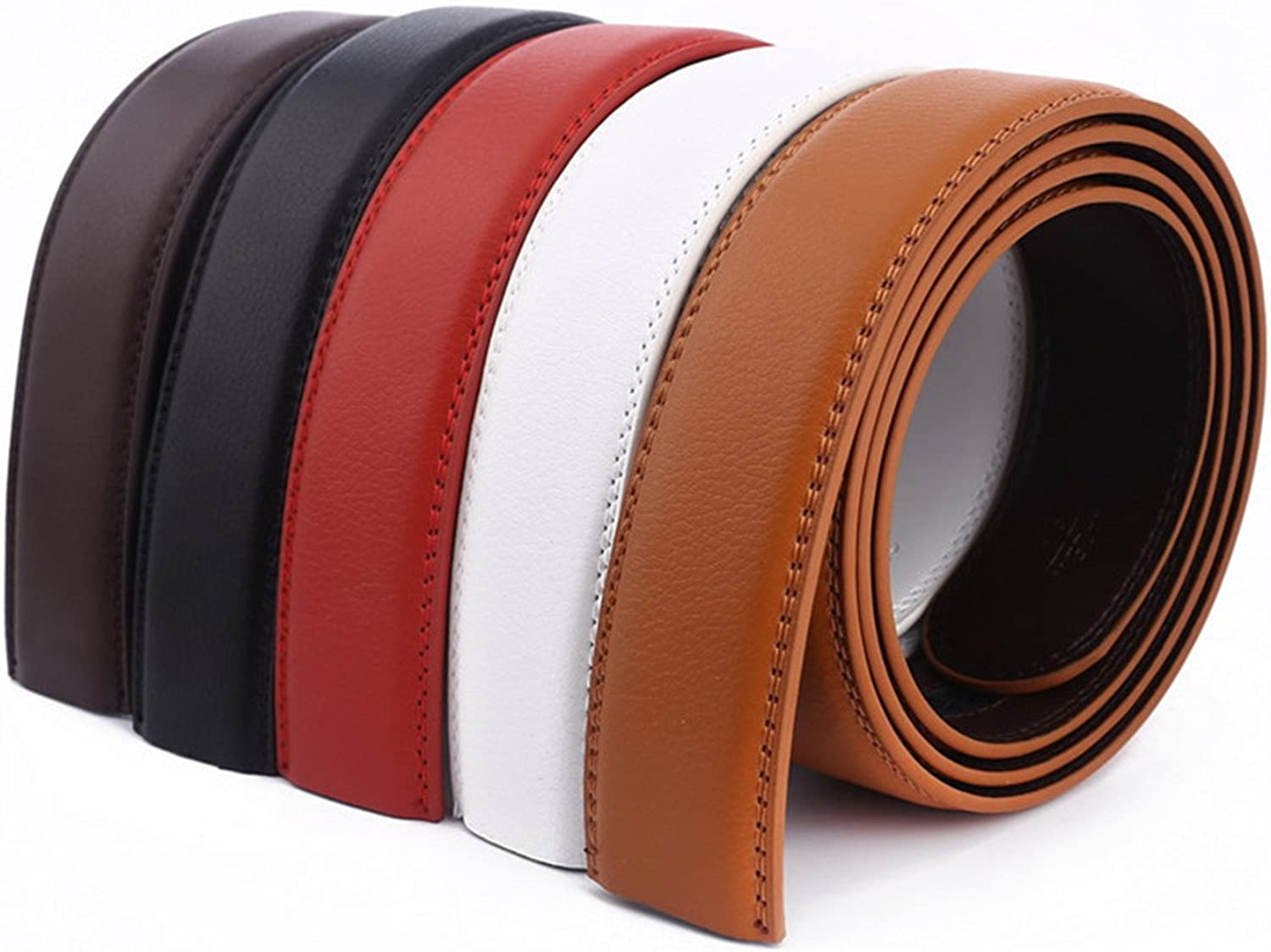 Surprising Day No Buckle belt 3.5cm white red brown 5color Genuine Leather Automatic Belts Body Strap Men ribbon belt