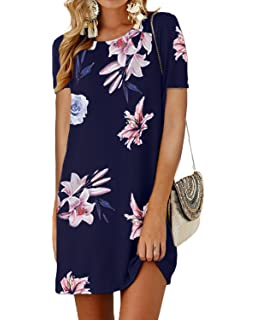 ef23727b2ed50a SUNNYME Women's Floral Mini T Shirt Dresses Short Sleeve Casual Crew Neck  Swing Tunics