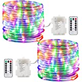 GDEALER 2 Pack 100 LED Rope Lights Battery Operated String Lights Waterproof 33ft 8 modes Dimmable Firefly Lights Fairy Lights with Remote Timer Christmas Decor Christmas Lights Multi Color