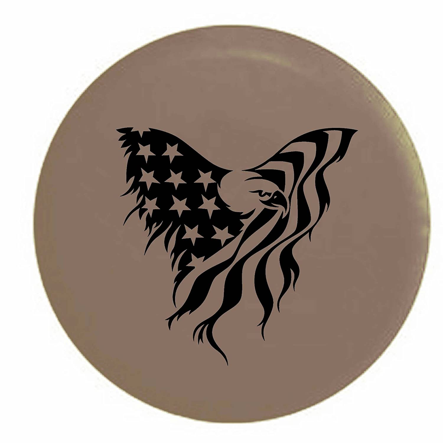 Pike American Bald Eagle Stars and Stripes Flag Trailer RV Spare Tire Cover OEM Vinyl Tan 32 in