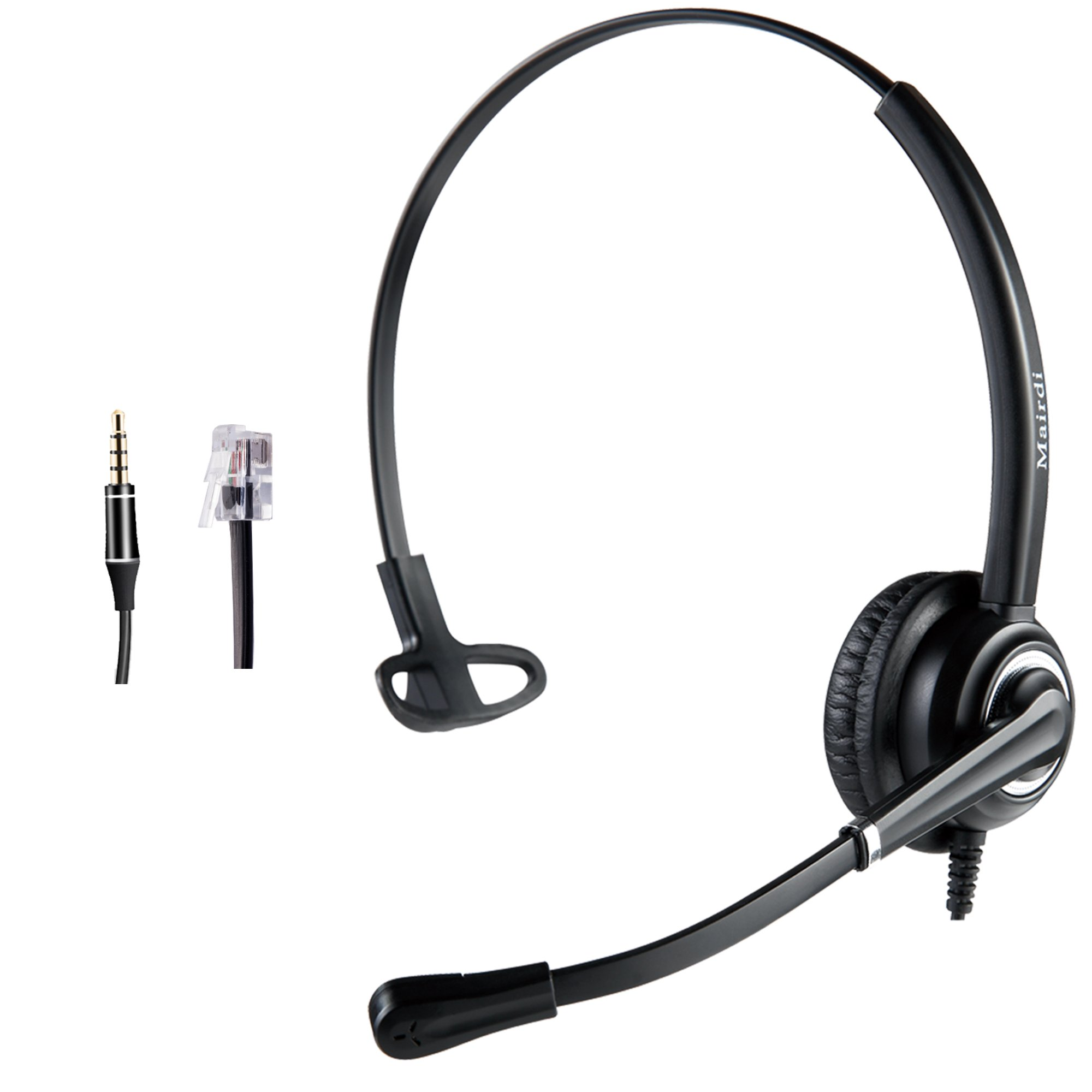 Cisco Headset Telephone Headset RJ9 with Noise Cancelling Microphone Jabra Compatible Plus Extra 3.5mm Connector by MAIRDI