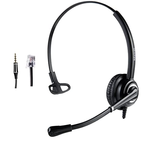Cisco Headset Telephone Headset RJ9 with Noise Cancelling Microphone Jabra  Compatible Plus Extra 3 5mm Connector