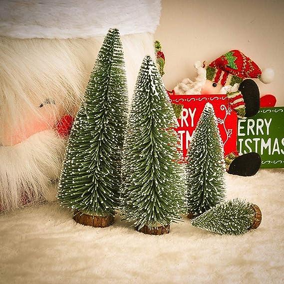 Árbol de Navidad 5 piezas de nieve pequeña de árboles de escarcha artificial y luces de cuerda de alambre de 3M/3.28 Mini adornos Árboles de mesa ...