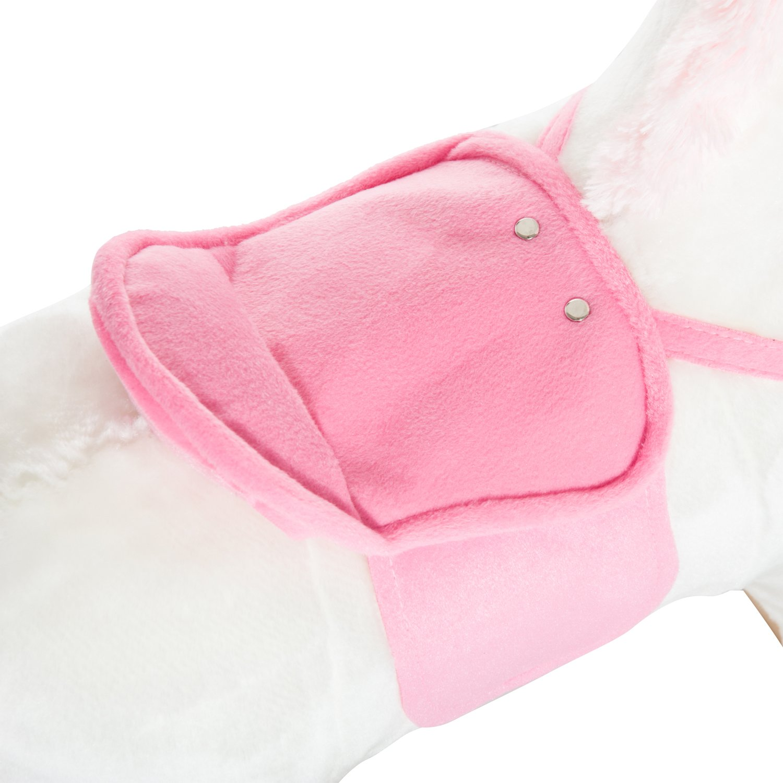 White /& Pink Qaba Kids Plush Toy Rocking Horse Unicorn with Realistic Sounds