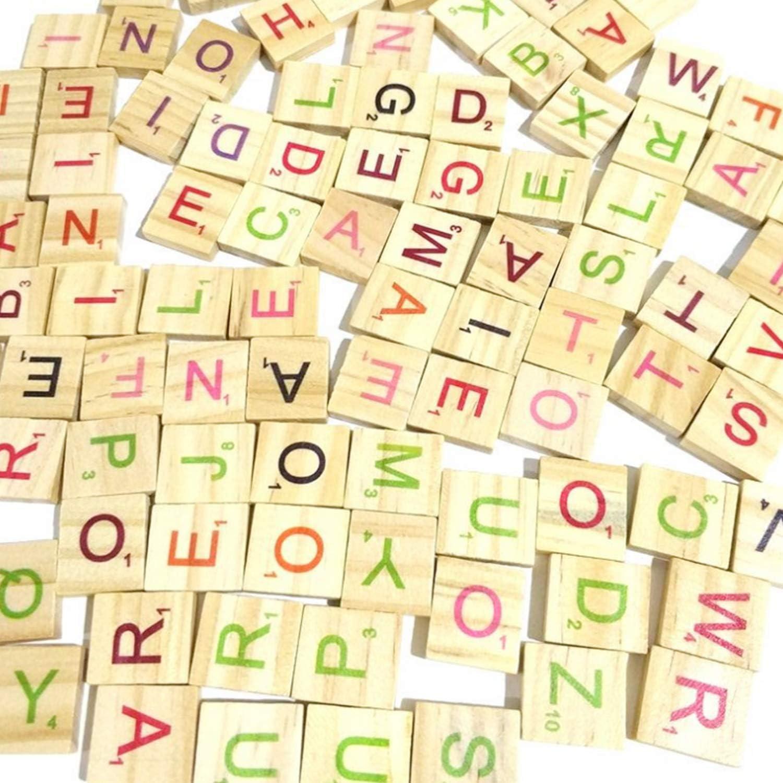 Decoration Scrapbooking Spelling Pendants MANSHU 600 Pcs Wood Colorful Scrabble Tiles Letter Tiles Wood Pieces for for Crafts