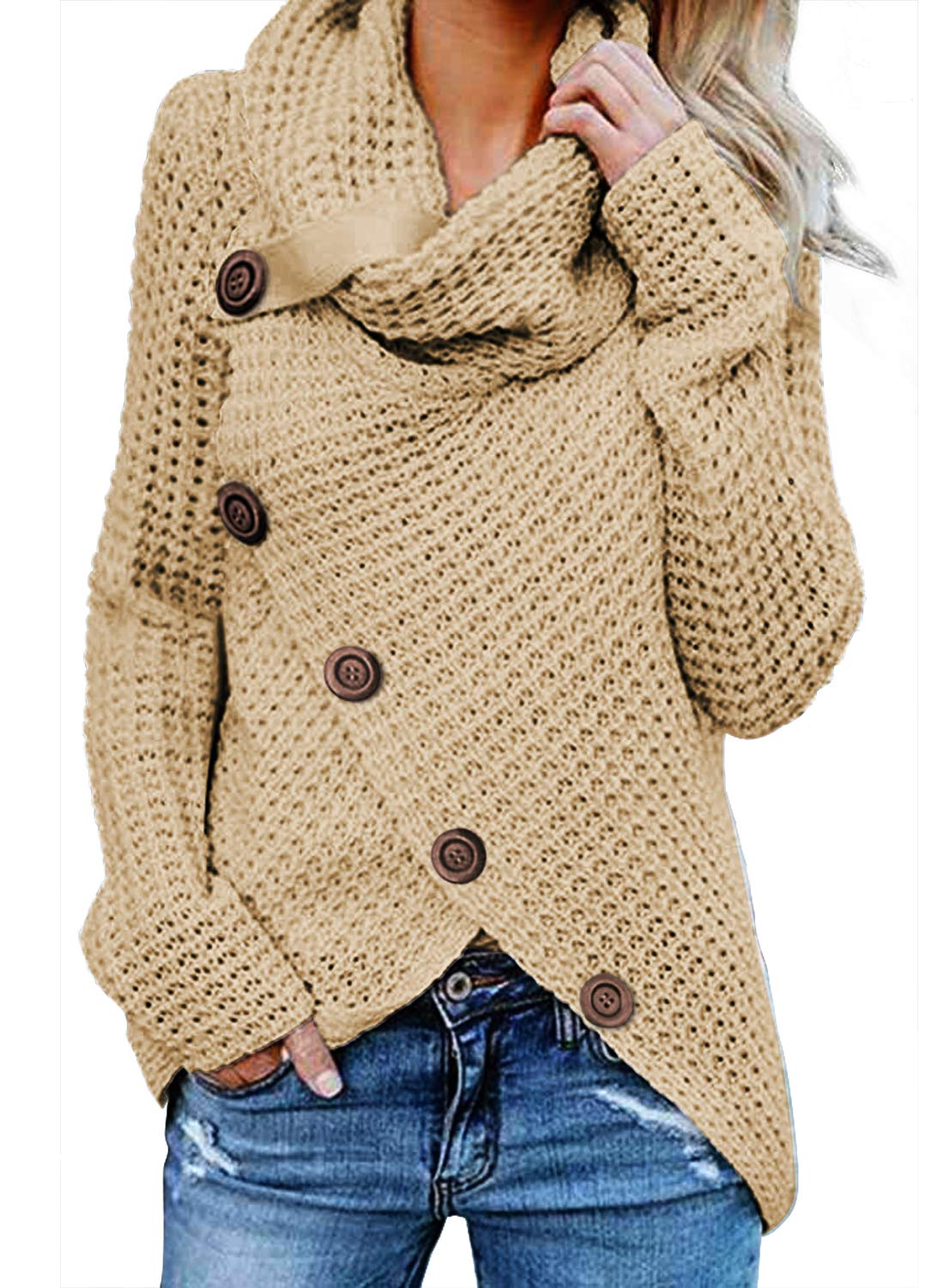 Asvivid Womens Chunky Turtle Cowl Neck Asymmetric Hem Wrap Button Winter Warm Cozy Knitted Pullover Sweaters M Beige