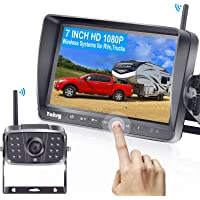 Yakry Y27 HD 1080P Wireless Backup Camera with 7 Inch DVR Monitor IPS Split Screen High-Speed Rear View Observation…