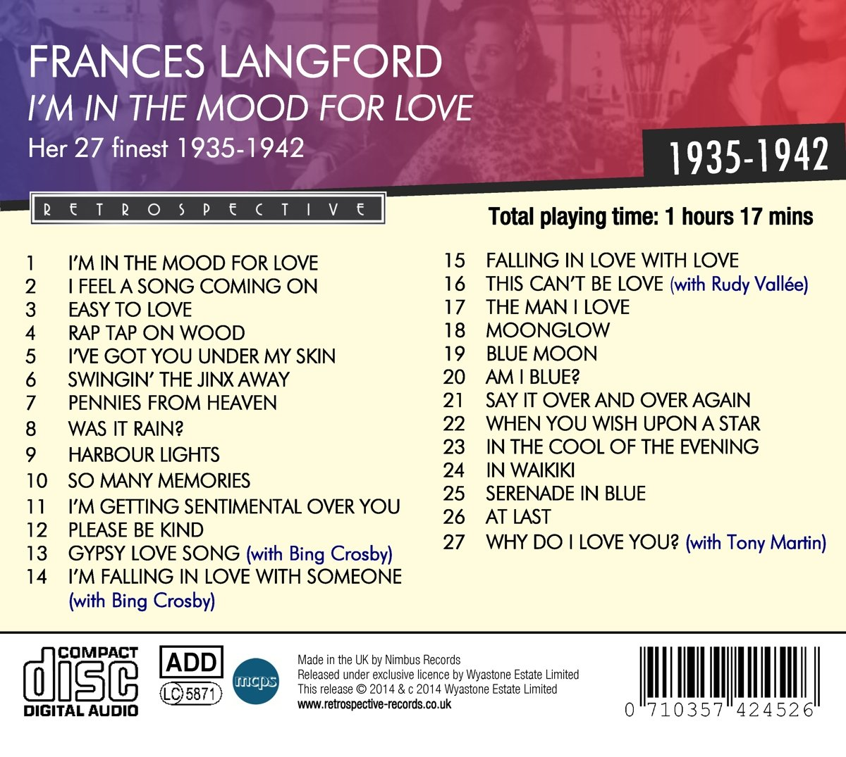 FRANCES LANGFORD - I'm In The Mood For Love - Amazon com Music