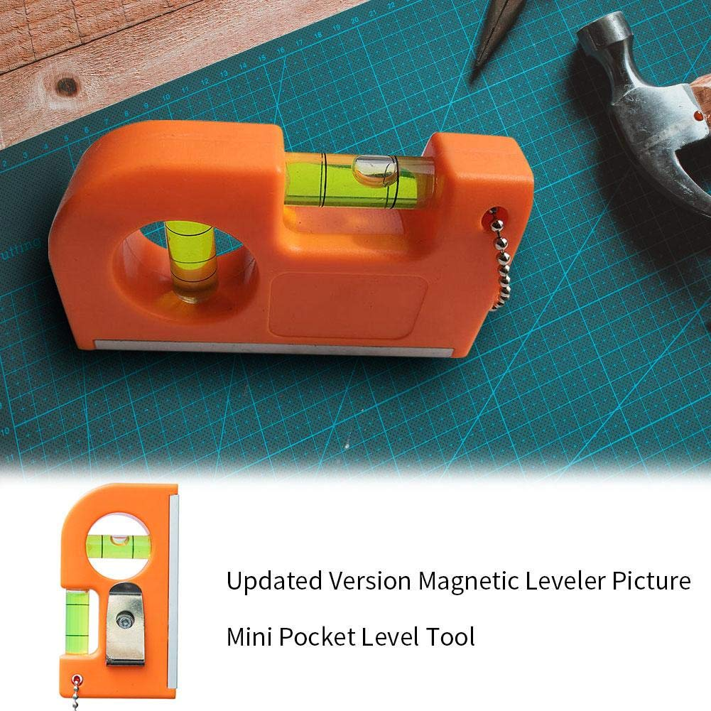 2019 Updated Version Magnetic Mini Pocket Level Tool Two Bubble Spirit Leveler Metal Chain Hook for Tiles Floor Picture//TV set hanging 60g