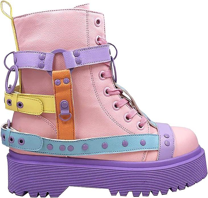 Pastel Straps Platform Boots