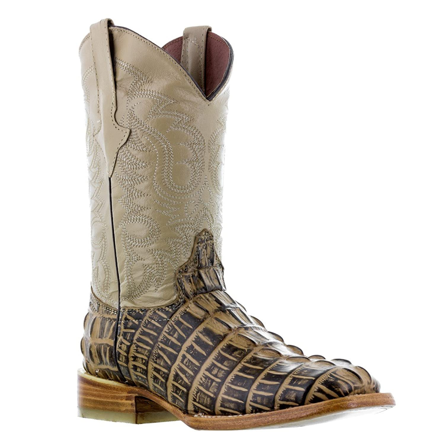 Texas Legacy - Mens Rustic Sand Crocodile Tail Print Leather Cowboy Boots Square