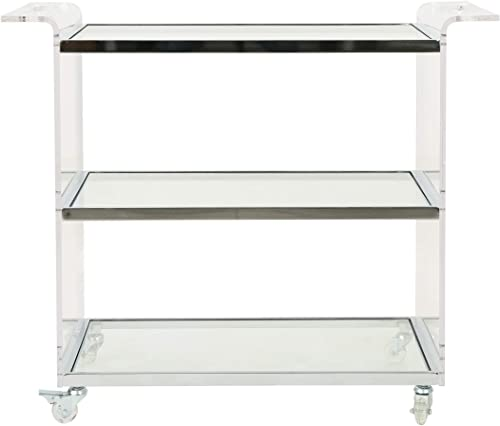 Christopher Knight Home Evee Acrylic Bar Trolley with Glass Shelves, Clear