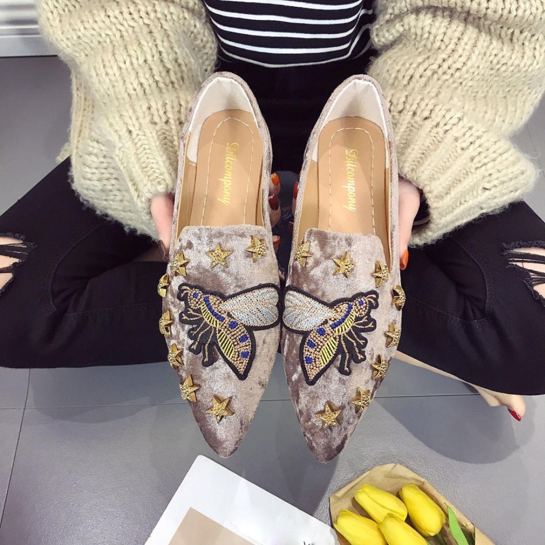 ZARLLE_Zapatos Zapatos De Guisantes, Planos De Ante del Bordado De La Abeja De Las SeñOras De Mujeres del Verano Zapatos Casuales del ResbalóN Suave Zapatos ...