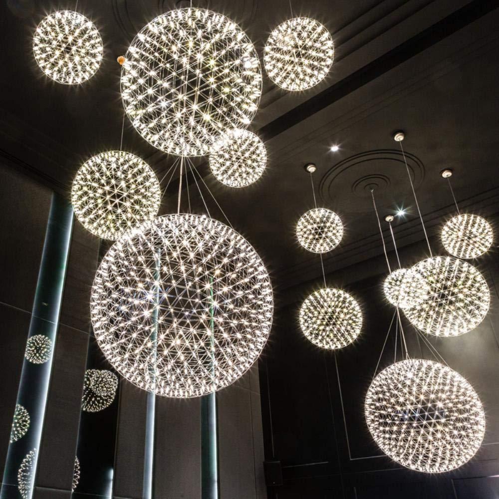Creative Stainless Steel LED Pendant Light Dia 60//80cm Firework Ball Moooi Raimond Pendente De Teto Lamps Fixture Home Lighting,Chrome Body,Dia 70cm 28inch,Warm White
