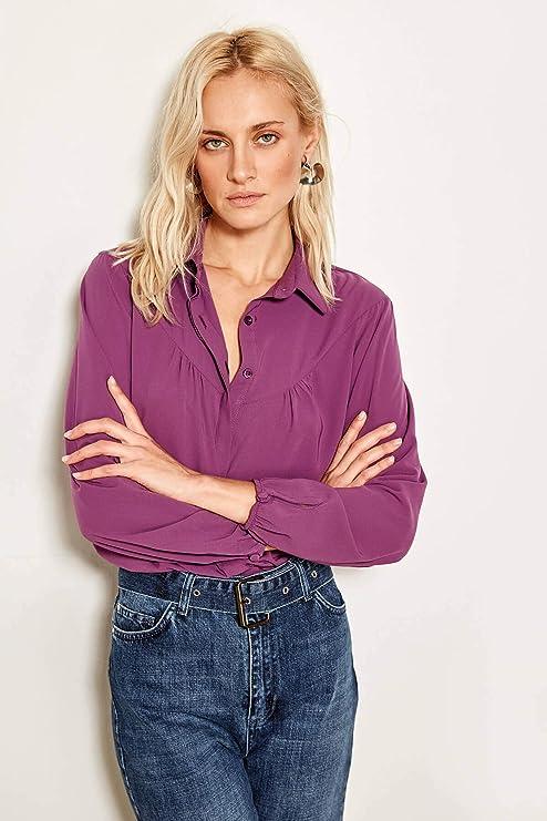 LFMDSY Camisa de la Mujer Casual Elegancia Detallada púrpura Volantes Camisa TOFAW19XV0002: Amazon.es: Deportes y aire libre