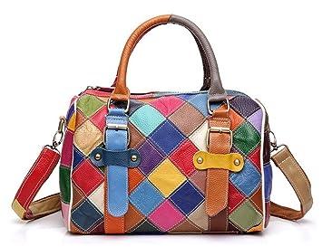Greeniris Damen Handtaschen Leder Vintage Bunt Plaid Umhangetasche